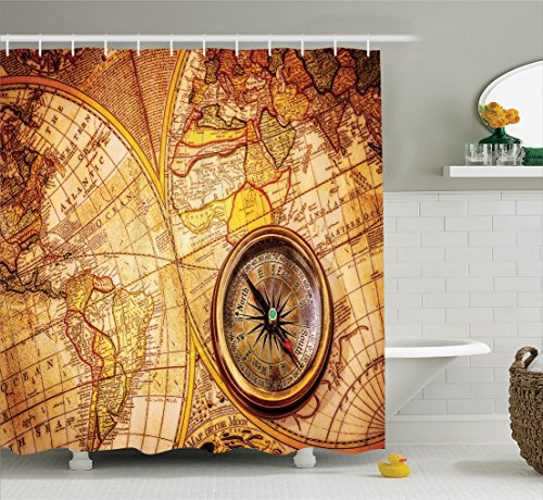 Map Shower Curtain Set Antique Decor by Ambesonne, Compass on an Ancient World Map Historic Borders Century-Old Antiquity, Bathroom Accessories, With Hooks, 69W X 70L Inches, Brown Beige