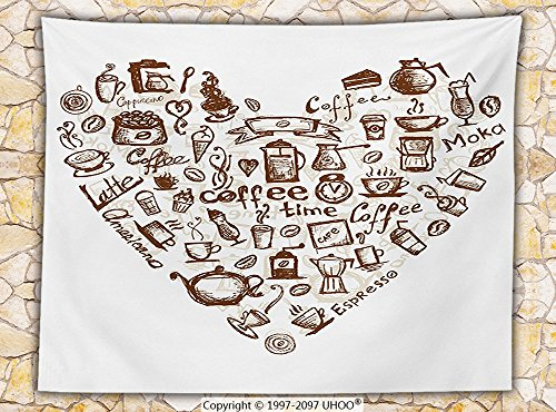 Coffee Decor Fleece Throw Blanket Ice-Cream Cake Bean Teapot Mug Spoon Coffee Time Lettering in Heart Shape Doodle Art Throw