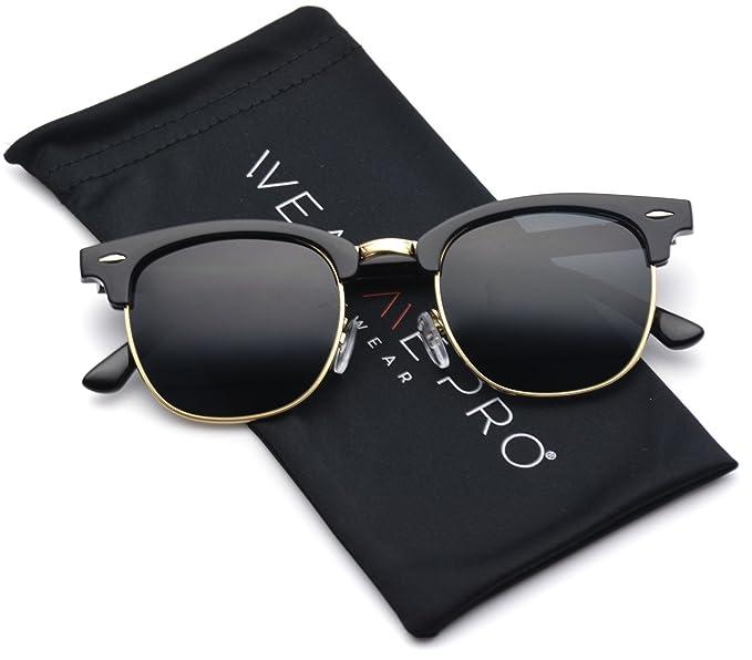 Polarized Clubmaster Classic Half Frame Semi Rimless Rimmed Sunglasses