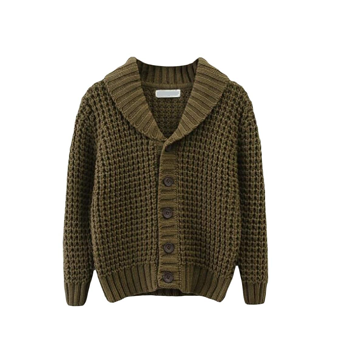 pipigo Boys Solid Knit Cute Sweater Thicken Coat Cardigans