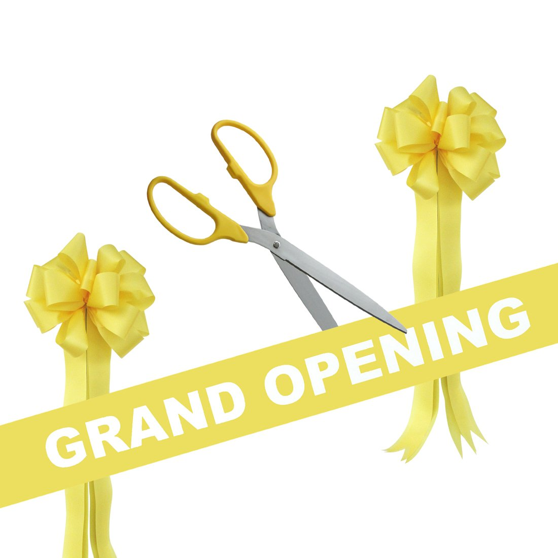 Grand Opening Kit - 25'' Yellow/Silver Ceremonial Ribbon Cutting Scissors with 5 Yards of 6'' Yellow Grand Opening Ribbon and 2 Yellow Bows by Engraving, Awards & Gifts