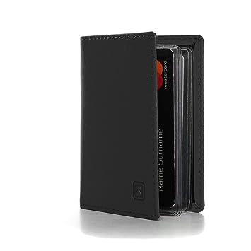 OPTEXX Étui Pour Cartes Charly Noir AntiRFID NFC En Cuir Vegan - Porte cartes sécurisé protection rfid nfc