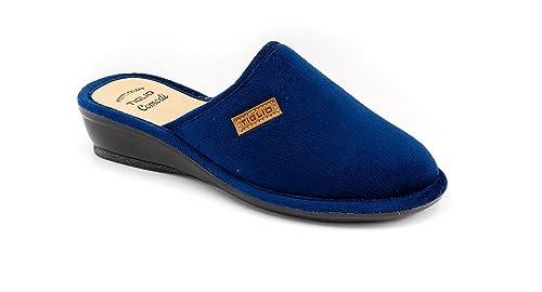 1ef384dae151a9 tiglio Pantofole Ciabatte Pelle Blu Panno Donna Benessere Comfort Art 1600:  Amazon.it: Scarpe e borse
