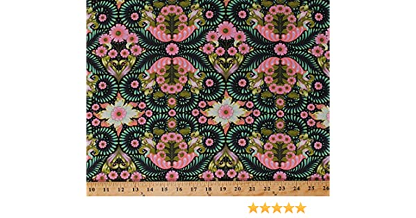 3 FQ Tula Pink~SLOW STEADY Turtle TORTOISE~Free Spirit~Cotton~Quilt Floral~Red