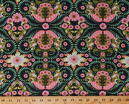 Cotton Tula Pink Slow & Steady The Tortoise in Strawberry Kiwi Tortoises Turtles Leaves Flowers Floral Green and Pink Cotton Fabric Print by the Yard (pwtp085-straw)