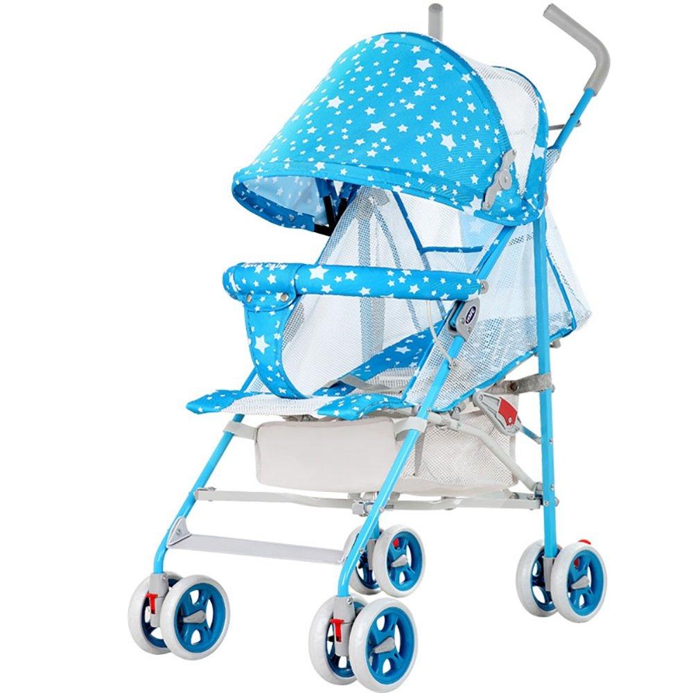 ZB 赤ちゃんのベビーカー軽量折りたたみリクライニングオックスフォード布通気性のクールなベビーカーの背もたれは、38 * 50 * 104cmを運ぶことができるショック傘の車の旅行を避けるために調整することができます A++ (色 : 青)  青 B07JWDNG9M
