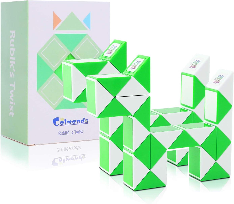 Colmanda Puzzle de Serpiente Mágica, 2 Piezas 24 Bloques Mágica Cubo de Serpiente, Snake Twist Puzzle Toys Juguetes de Rompecabezas para Niños Llenadores de Bolsos para Fiestas (Verde)