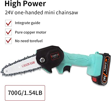 Sierra de podar el/éctrica port/átil Sierra de cadena inal/ámbrica de 4 pulgadas con cortadores de madera de una mano recargables de 21 V y 1,5 A Varibale Speed