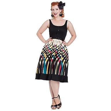 Voodoo Vixen Jean Border Print Flaired Dress Beige