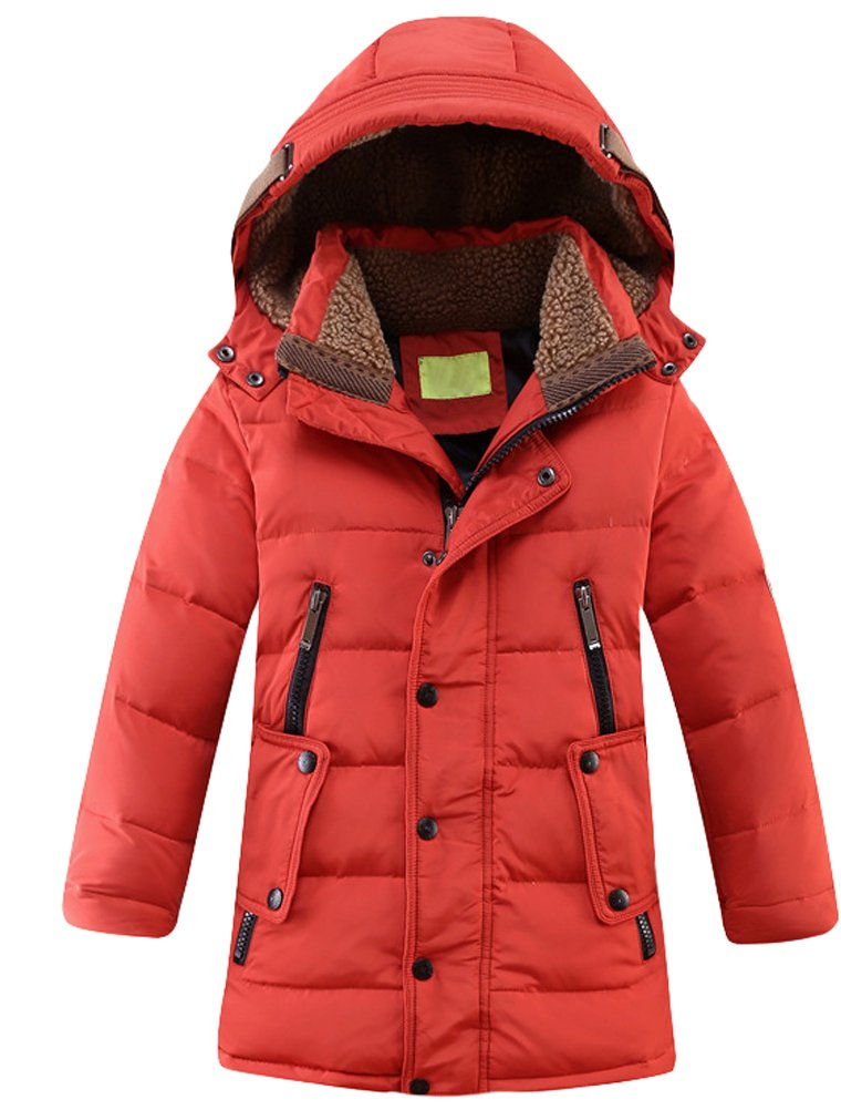 Mallimoda Big Boy's Hooded Bubble Jacket Heavyweight Solid Puffer Coat Red Size 130