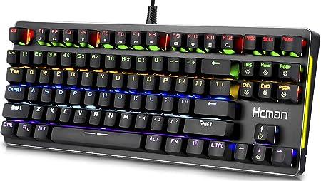 Hcman Teclado mecánico para Juegos con retroiluminación LED, USB con Cable, conmutadores Azules con luz fría de 6 Colores para PC o Mac, 87 Teclas ...