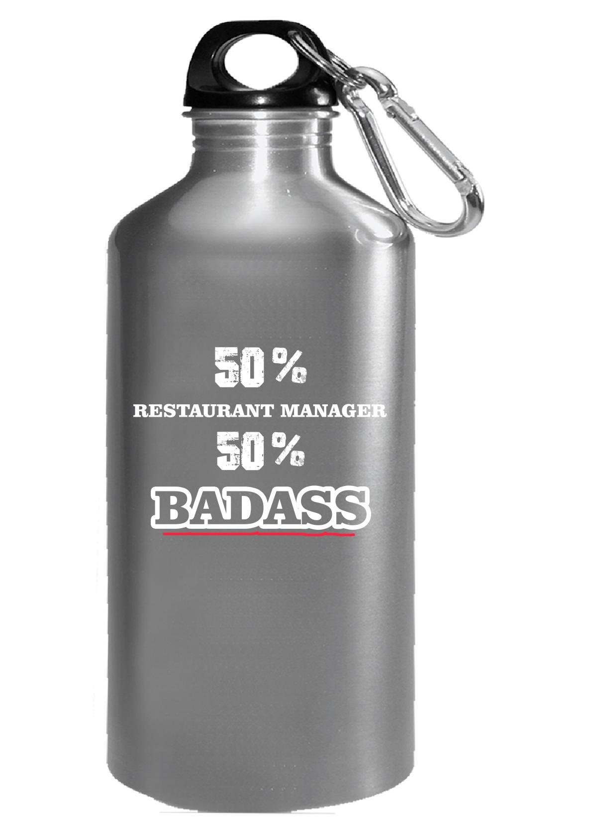 50% Restaurant Manager 50% Badass Cool Gift - Water Bottle