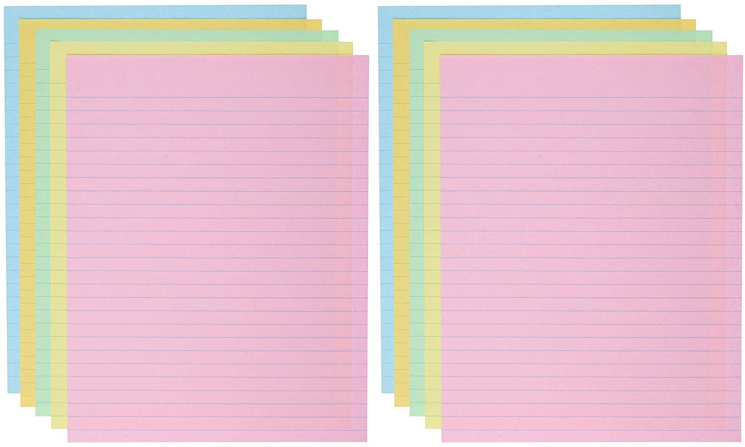 School Smart Ruled Exhibit Paper, 8-1/2 x 11 Inches, Assorted Colors, 500 Sheets (Pack of 2)