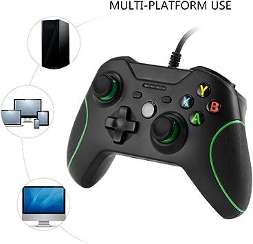 KOBWA Controlador de juegos para Xbox One, Xbox One S, USB con cable de doble vibración para Xbox One(S) y PC con clavija de 3,5 mm: Amazon.es: Electrónica