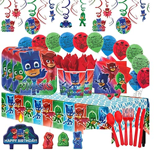 (Amscan PJ Masks MEGA Deluxe Birthday Party Pack for 16 with Plates, Napkins, Cups, Cutlery, Tablecover, Candles, Hanging Swirl Decorations, and Balloons)