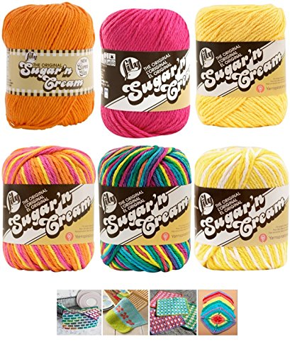 Yarn Crochet Cotton - Variety Assortment Lily Sugar'n Cream Yarn 100 Percent Cotton Solids and Ombres (6-Pack) Medium Number 4 Worsted Bundle with 4 Patterns (Asst 35)
