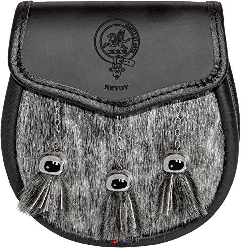 Nevoy Semi Dress Sporran Fur Plain Leather Flap Scottish Clan Crest