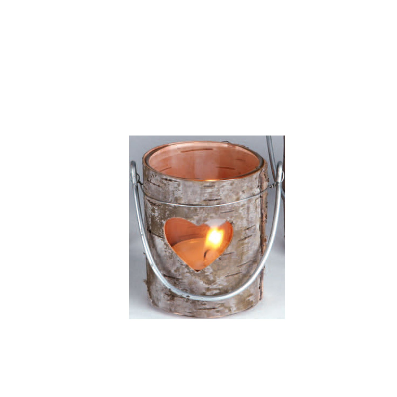 Photophore en bois avec écorce avec cœur et insert en verre 7, 5cm Ø 8cm à poser ou à suspendre avec arceau Hädicke