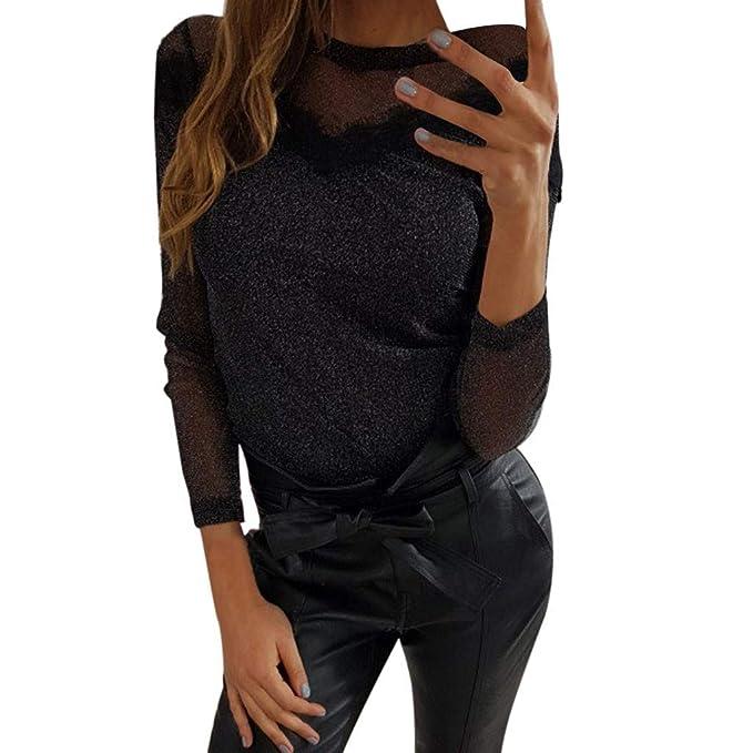 310b81be5 Parte Superior de Malla T Camisa Mujeres Camiseta de Cuello Redondo de  Manga Larga Camisetas Sexy Transparente Negro Punk Estilo Streetwear  Camisetas Playa ...