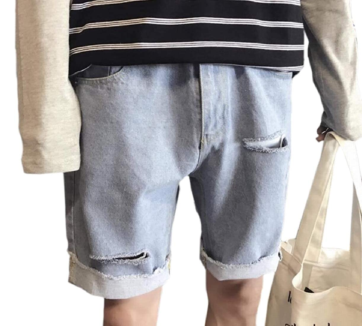 CBTLVSN Men Slim Shorts Ripped Distressed Washed Denim Shorts with Hole