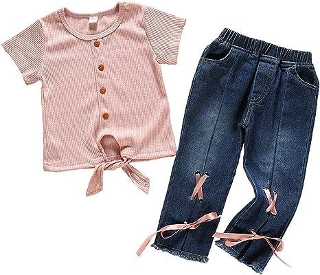 Geagodelia Kinder M/ädchen Sommer Outfit 2PCS Kurzarm Bluse Lang Denim Jeans Hosen 1-6 Jahre Schulterfrei Top Babykleidung Set Baby M/ädchen Kleidung