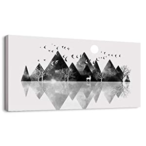Canvas Wall Art for Living Room Artwork Canvas Prints Bedroom Wall Decor Black and White Geometric Abstract Scenery Mountain Picture Watercolor Painting Office Large Wall Decorations Family Decor