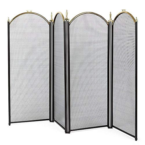 (Smith13Store Fireplace Screen 4 Panel Wrought Iron Metal Fire Place Large Gold Extendable)