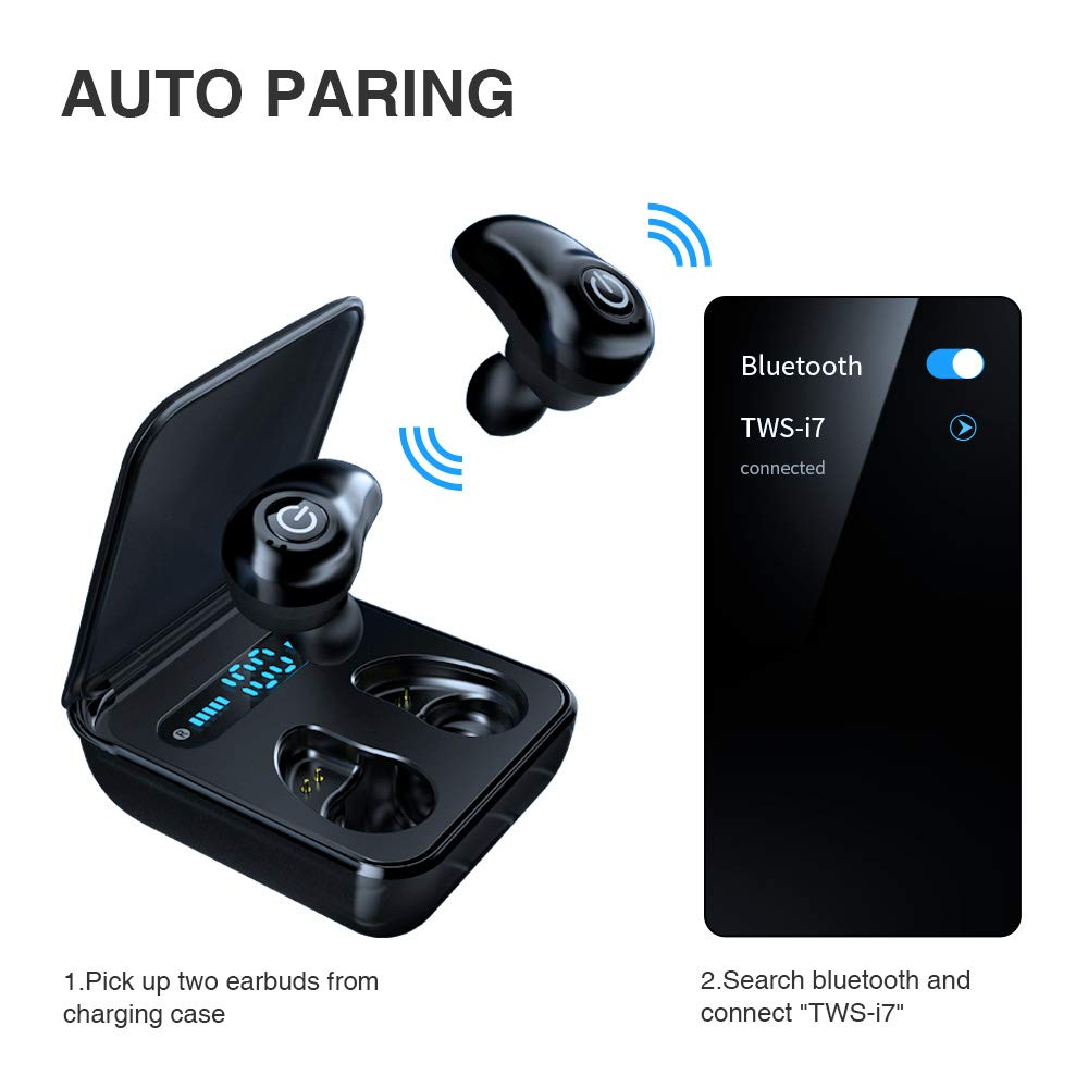 Wireless Earbuds Bluetooth 5.0 Headphones Meetone 36H Playtime Stereo Hi-Fi Sound Built-in Mic Cordless Earphones for Android iPhone in-Ear Headset with LED Battery Display Charging Case(Black) by Meetone (Image #2)