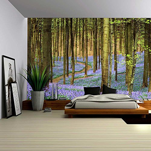 Wall26 - Forest of Bluebell Flowers in the Spring Time - Wall Mural, Removable Sticker, Home Decor - 100x144 inches