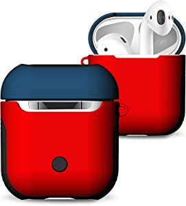 Airpods Case, Heavy Duty Hybrid 2 in 1 Shockproof Full Protective Case Hard PC+Soft Rubber Silicone Skin Cover Accessories Kits for Airpods 1/Airpods 2 (Not for Wireless Charging Case) (Red Blue)