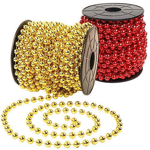 Isbasa 98 Feet Shiny Christmas Beads Garland 2 Rolls Christmas Tree Beads String for Decoration (Gold and Red) (Christmas Red Garland)