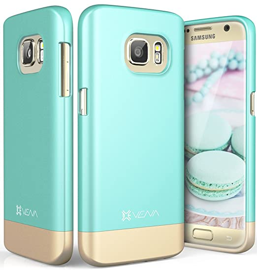 super popular 1b8e6 541fd Galaxy S7 Case, Vena [iSlide][Two-Tone] Dock-Friendly Slim Fit Hard Case  Cover for Samsung Galaxy S7 (Teal/Champagne Gold)