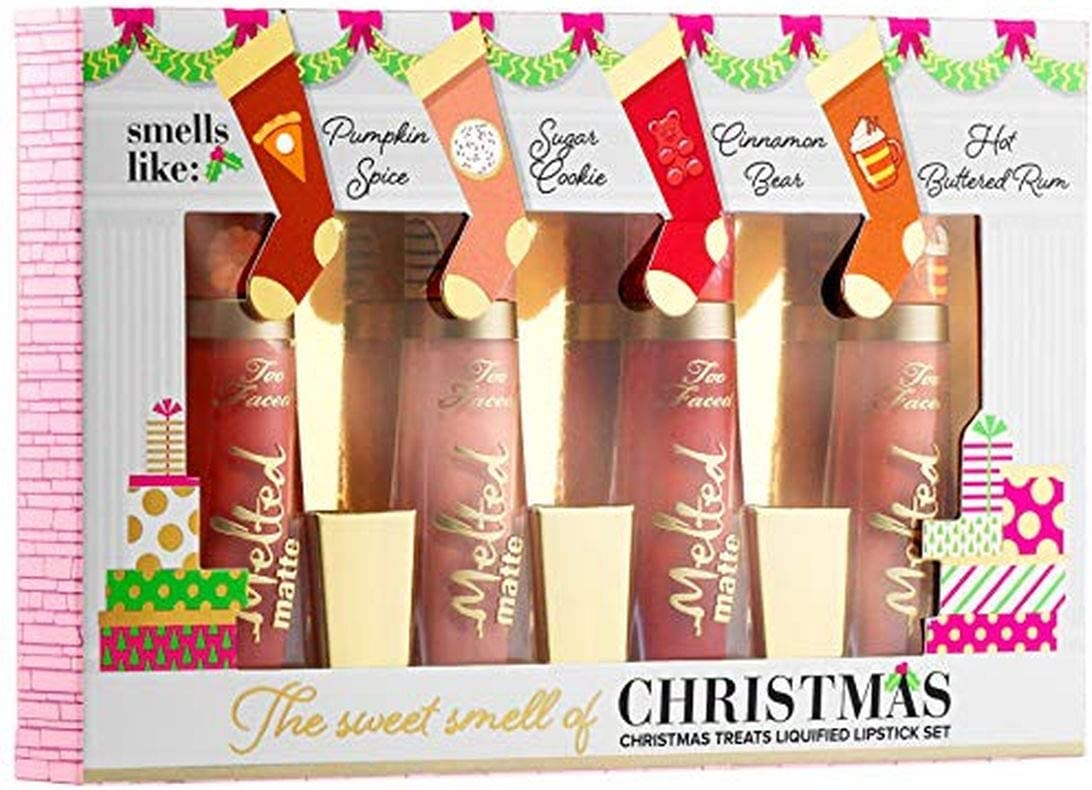 4 De Pc. Adhesivo Faced The Sweet Smell of Christmas de mini Melted Liquid Lipstick Set