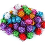 TECH-P® Arts Craft Pom Poms Glitter Poms Sparkle Balls– Assorted Color (1.5 Inch With Glitter Tinsel- 100 Pack)