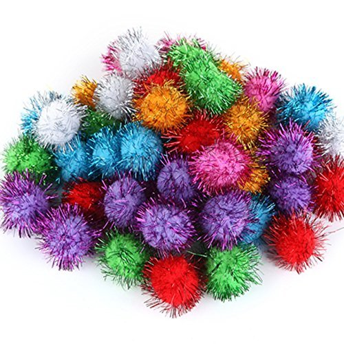 TECH-P Arts Craft Pom Poms Glitter Poms Sparkle Balls Assorted Color (1.5 Inch With Glitter Tinsel- 100 Pack)