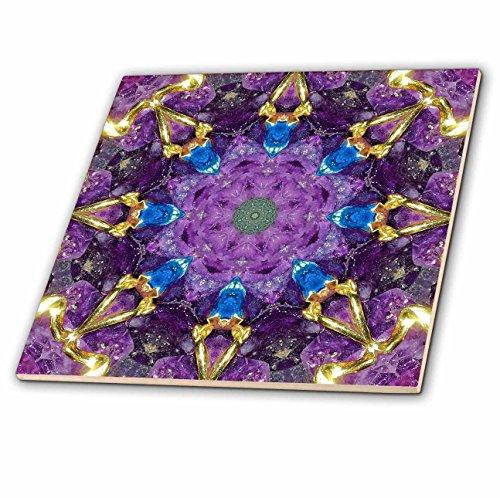 Kaleidoscope Glass Tile (3D Rose Geometric Kaleidoscope of Blue Topaz and 14 Karat Jewelry on Amethyst Glass Tile)