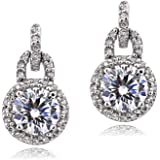 Sterling Silver 100 Facets Cubic Zirconia Round Dangle Earrings(2cttw)