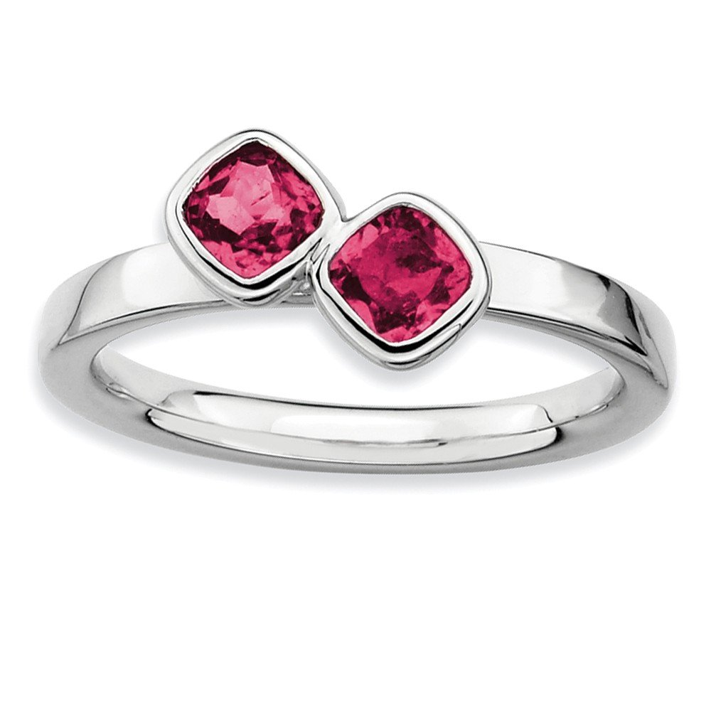 Top 10 Jewelry Gift Sterling Silver Stackable Expressions Dbl Cushion Cut Cr. Ruby Ring
