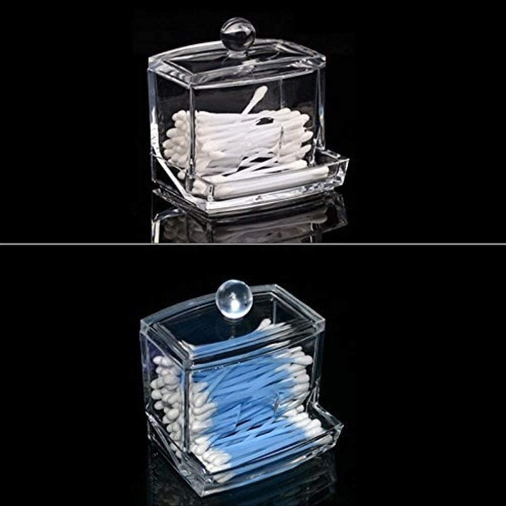 Shuxinmd Maquillage Coton Coussinet Boite Acrylique Transparent Cotons-Tiges Distributeur Save Compteur Espace /Éco-responsable pour Chambre ou Salle de Bain Tampon Support