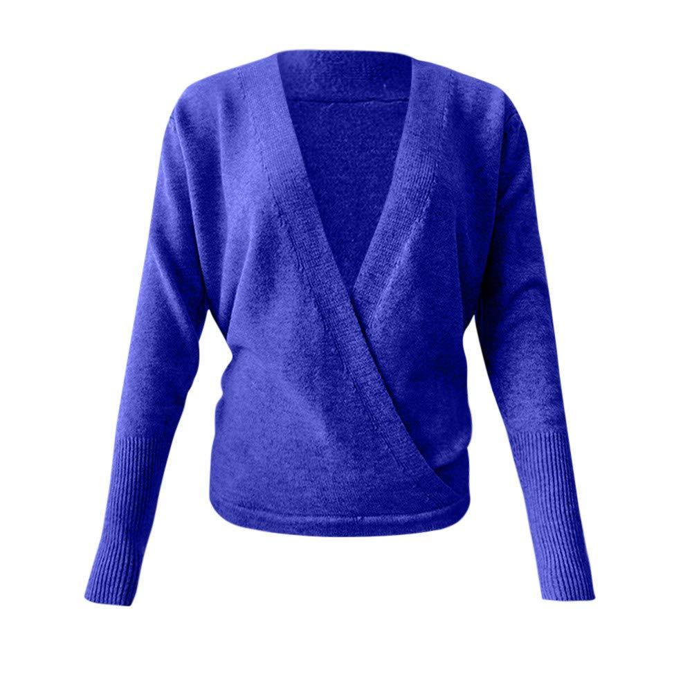 Blusa de Manga Larga con Escote en V y Manga Larga, Wrap Delantero Suelto suéter Jersey de Mujer: Amazon.es: Ropa y accesorios