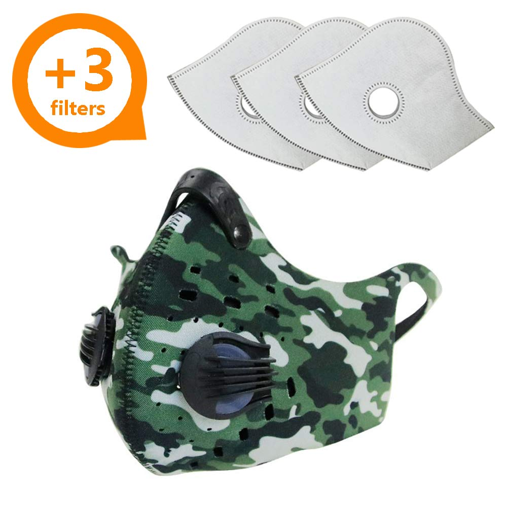 Activated Carbon Dust Mask for Breathing Clean Air, with Extra Filters, Excellent for Cycling, Running, No more Exhaust Gas, Dustproof, Anti Allergy and Pollution, PM2.5 N99, Outdoor Activities (Camo)