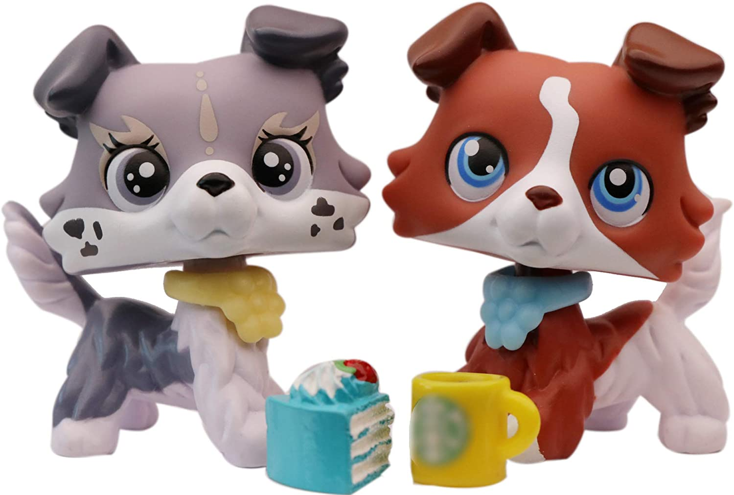 lpsloverqa Collie Lot Vanilla Collie Coffee Collie Custom Made Blue Eyes Dog Puppy with Accessories Lot Figures Collection Boys Girls Kids Gift Set 2020