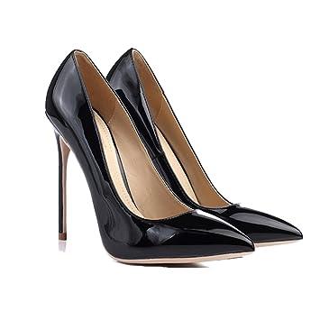 c9052ad1cd606e LHA Schwarze High Heels Spring neue Hochzeit Schuhe mit hohen Absätzen spitz  Fine mit Schuhen 12cm