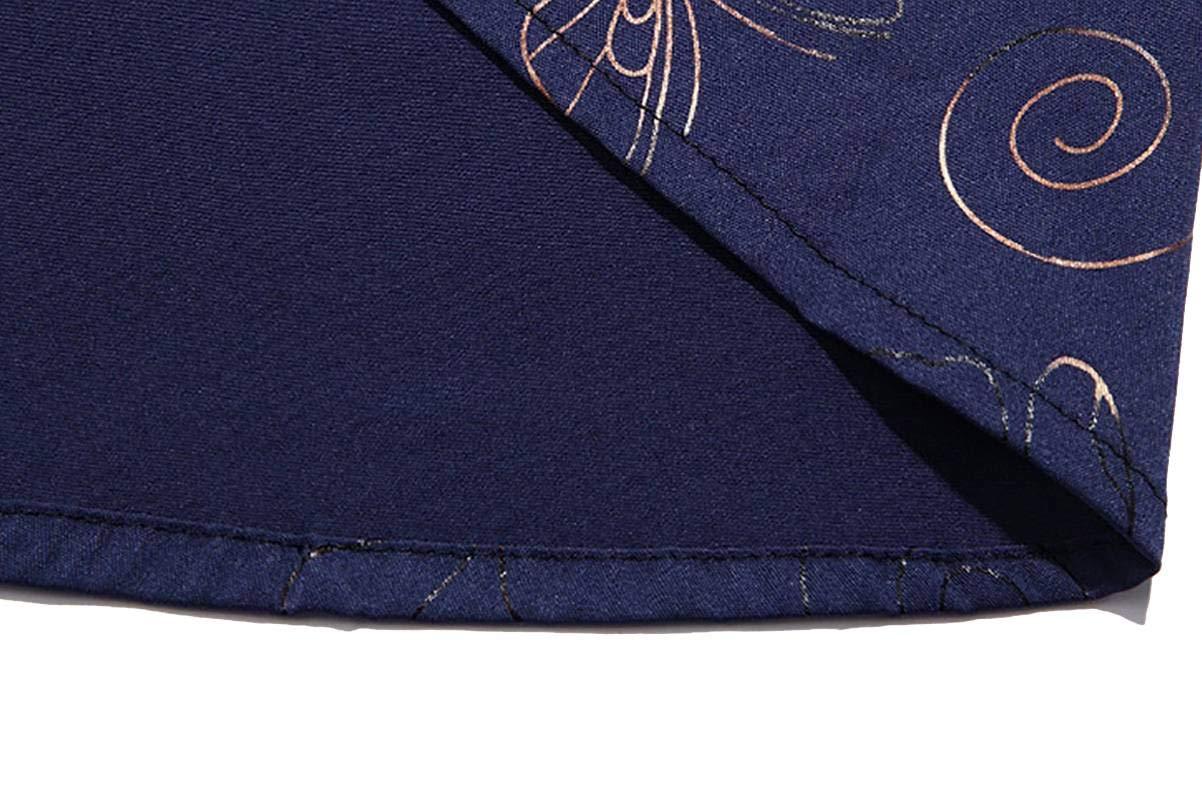 LZLAN Summer New Trend Mens Fashion Printing Business Casual Short-Sleeved Shirt Navy Blue,XL