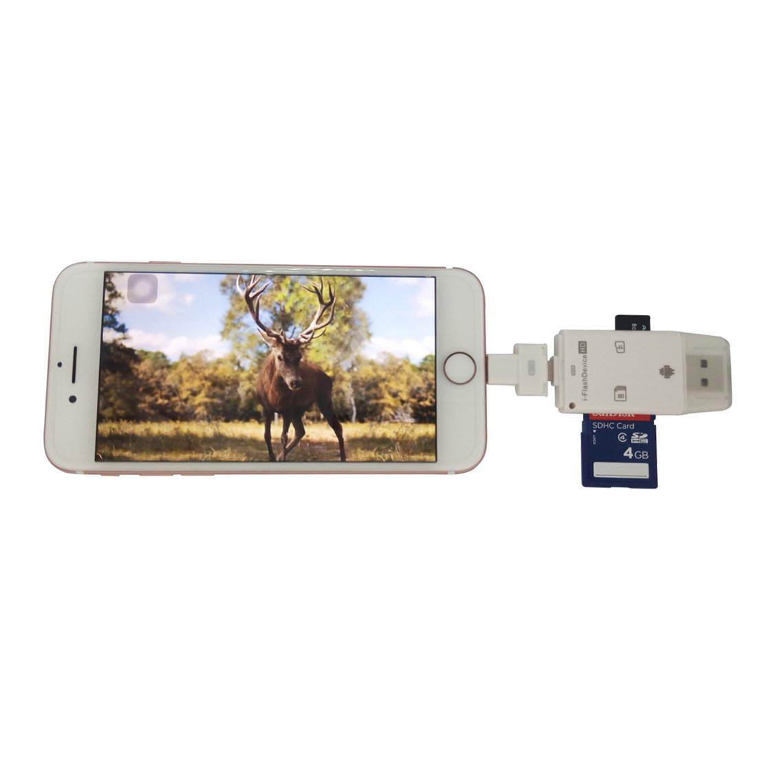 TSEAH Phone Trail Camera Viewer/Trail Camera Pictures Reader Lighting Card Adapter for Hunting Camera Memory Cards iPhone andriod Smartphone and PC (White) by TSEAH (Image #1)