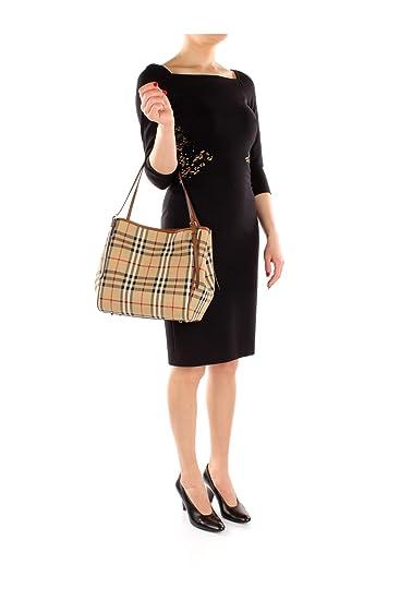 Amazon.com  Burberry Women s  Small Canter  Horseferry Check Tote Bag with  Equestrian Saddle Straps Honey Tan  Clothing 64e04fbf94