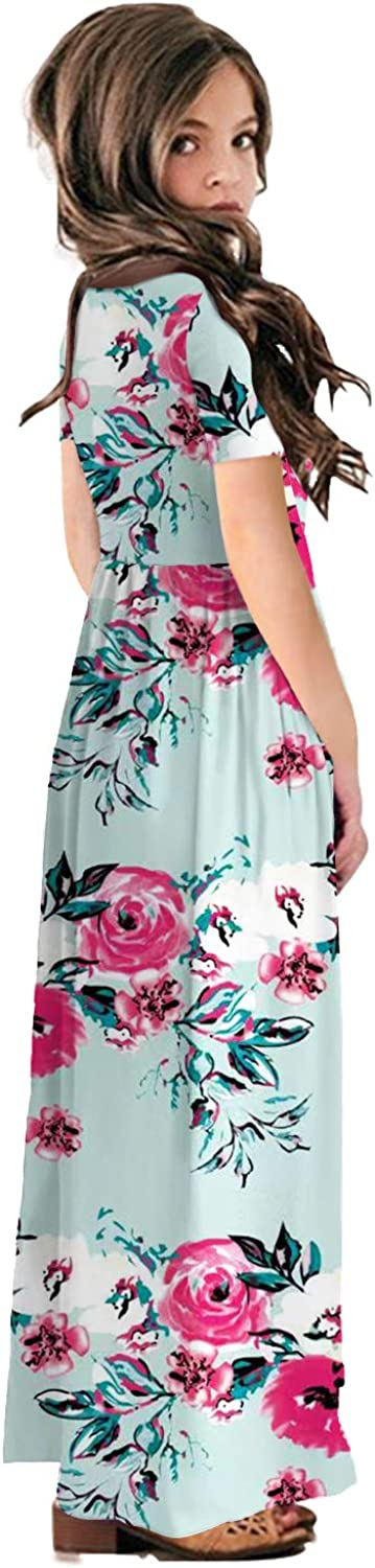 storeofbaby Girls Casual Maxi Floral Dress Short Sleeve Holiday Pockets Dresses for 5-13 Years