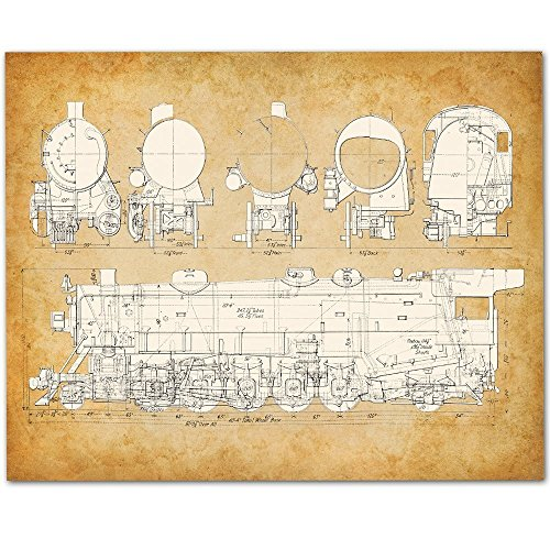 Steam Railroad Locomotive Train Art Print - 11x14 Unframed Patent Print - Great Gift for Rail Fans ()