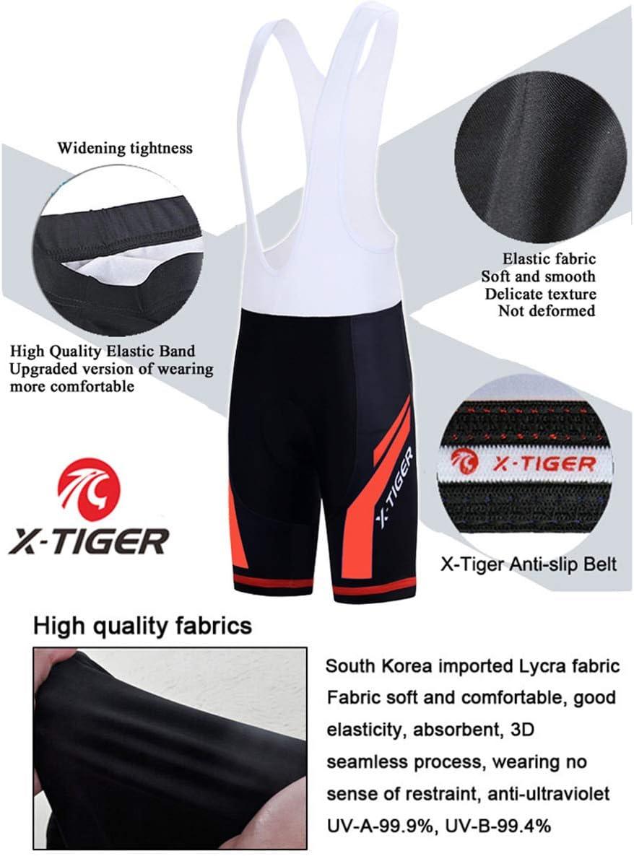 X-TIGER Hombres de Bicicleta con 5D Gel Acolchado MTB Ciclismo Tirantes Culotte Pantalones Cortos Culotes