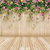 WOLADA Photo Background 10x10ft Flower Wall Wood Backdrop Photography Prop for Children Photo Studio 8909